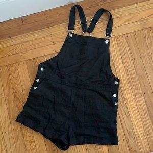 Black linen short overalls